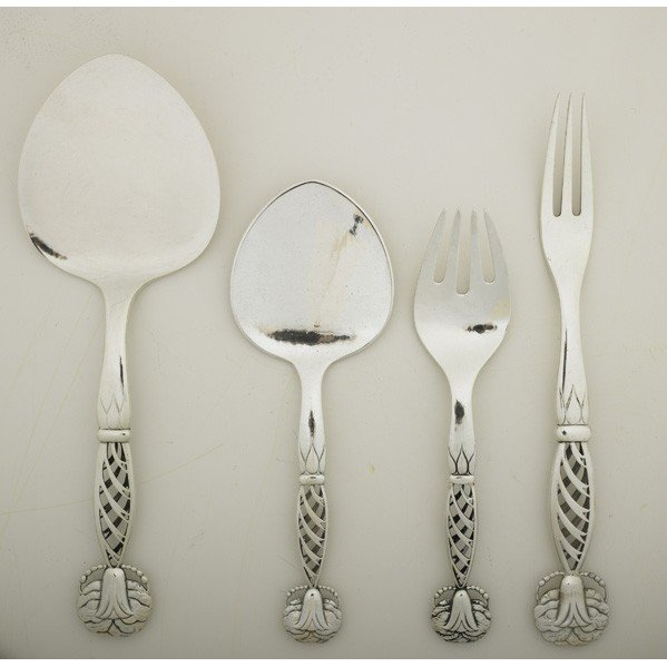644: GEORG JENSEN; Four serving pieces