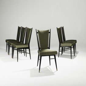GUGLIELMO ULRICH; Six Tall-back Dining Chairs