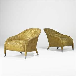 672: ANTONIO CITTERIO; Pair of club chairs