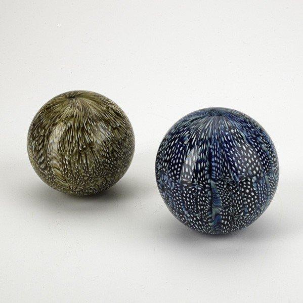 692: LUDOVICO DIAZ DE SANTILLANA; Two glass balls