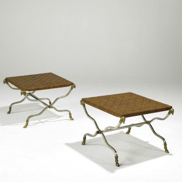 906: MAISON JANSEN; Pair of campaign benches