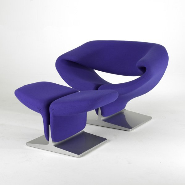 1: PIERRE PAULIN; ARTIFORT; Ribbon chair and ottoman, F