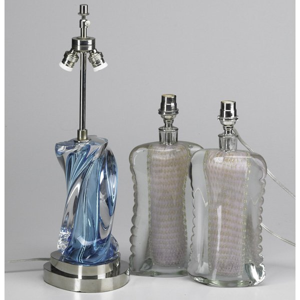73: MURANO; Three Sommerso boudoir lamps: pair with cas