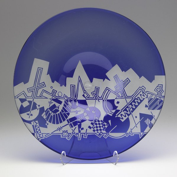 202: MICHAEL JOPLIN; Hand-blown glass charger with acid