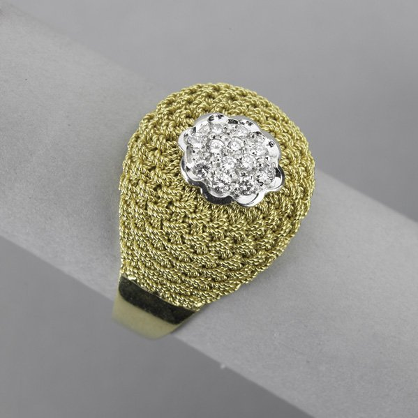 2010: DIAMOND AND WOVEN 18K GOLD BOMBE RING
