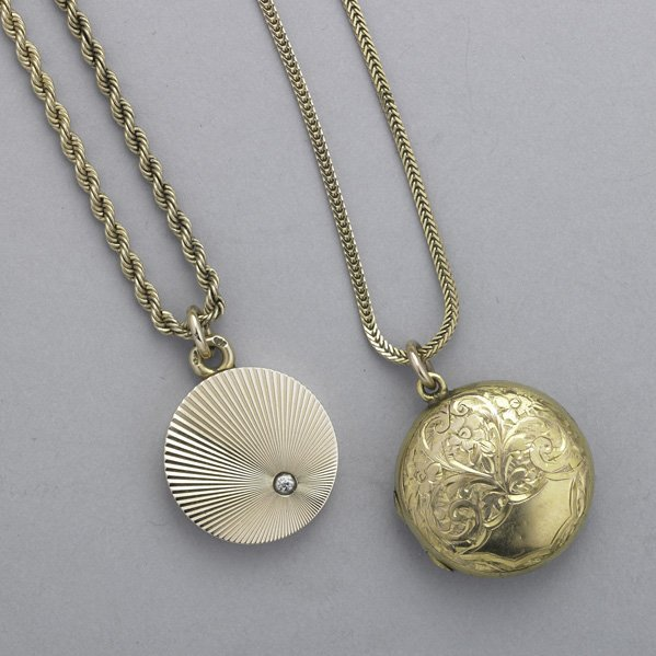 2024: TWO YELLOW GOLD LOCKETS AND CHAINS