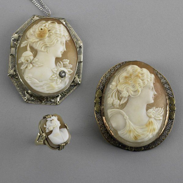 2047: 14K GOLD AND CAMEO JEWELRY
