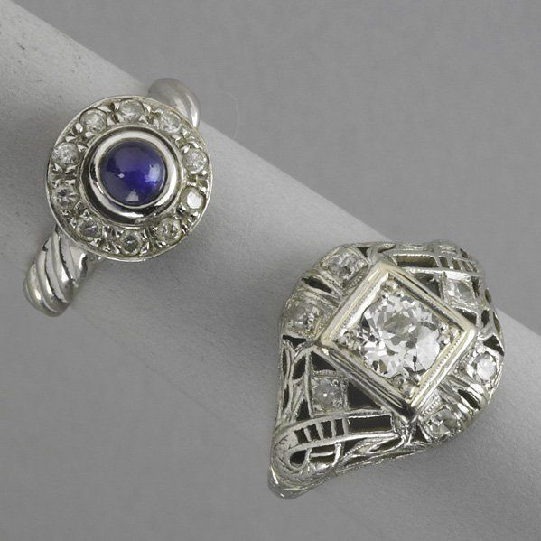 2171: TWO WHITE GOLD AND DIAMOND RINGS