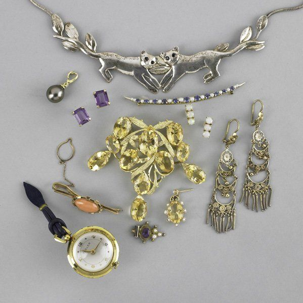 2246: GOLD AND SILVER JEWELRY AND A WATCH