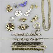2273 GOLD FILLED AND ENAMELED SILVER JEWELRY