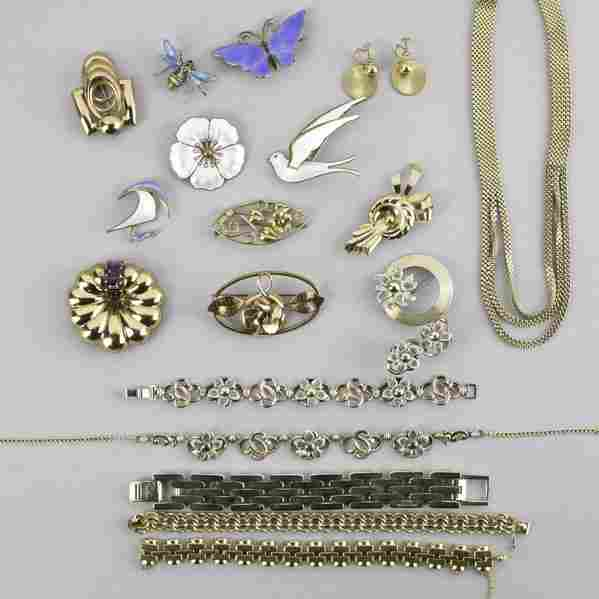 2273: GOLD FILLED AND ENAMELED SILVER JEWELRY