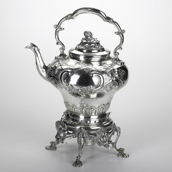1286: VICTORIAN SILVER PLATED KETTLE ON STAND