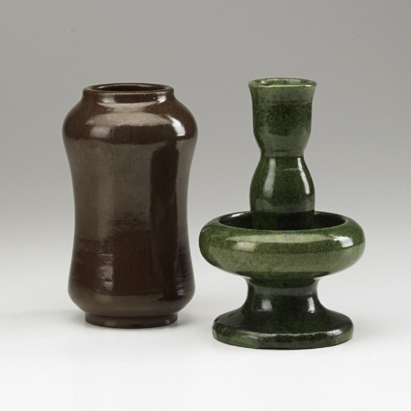 5: W.J. WALLEY Vase and candlestick
