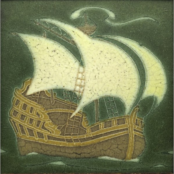 "8: GRUEBY  8"" Tile with tall ship"