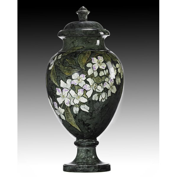 12A: JOHN BENNETT Tall covered jar with dogwood