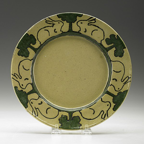 14: PEWABIC Early plate with rabbits