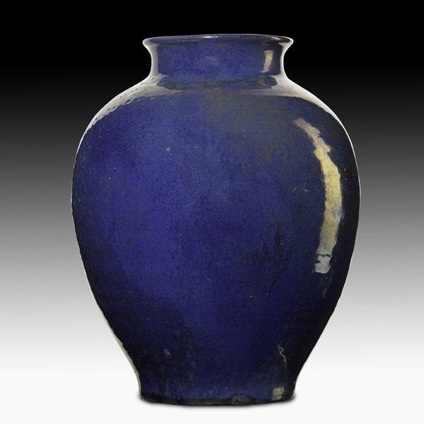 15: PEWABIC Vase in blue luster glaze