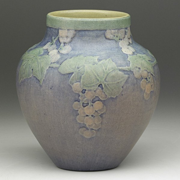 18: S. IRVINE; NEWCOMB COLLEGE Vase with grapes