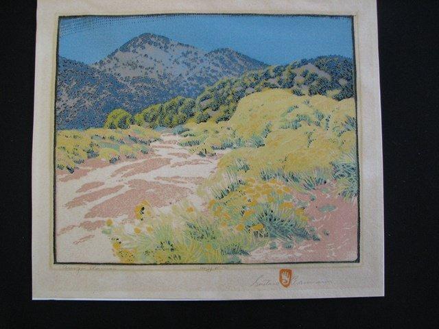 "90: GUSTAVE BAUMANN Woodblock print ""Arroyo Chamisa"" - 7"
