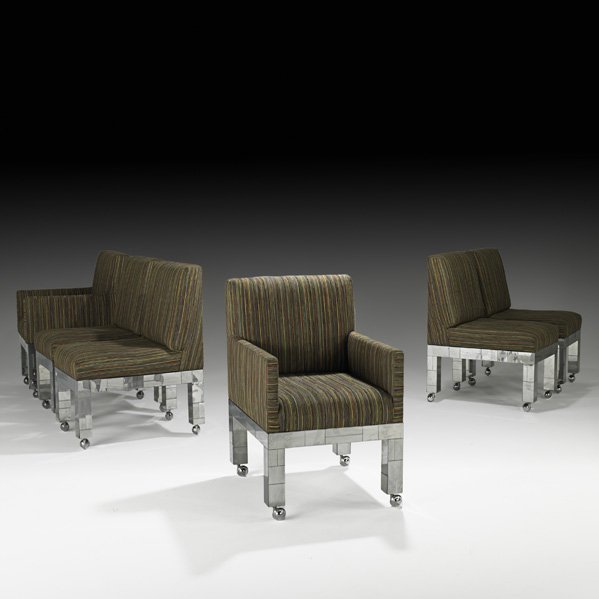 509: PAUL EVANS Six Cityscape dining chairs