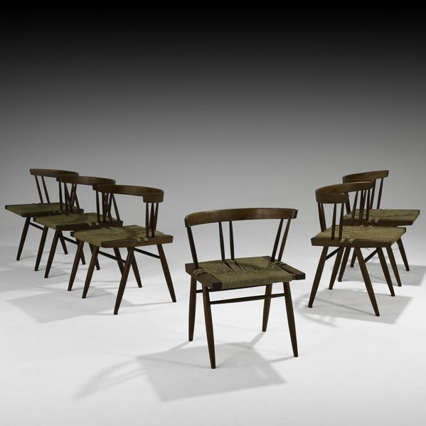 524: GEORGE NAKASHIMA Six Grass-Seated chairs