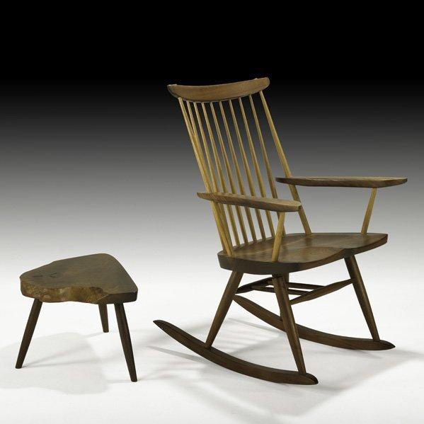 527: MIRA NAKASHIMA Rocking chair and table