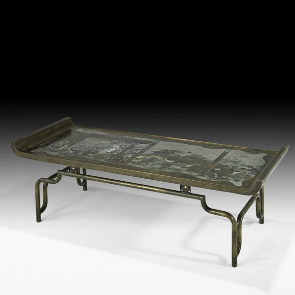 531: PHILIP AND KELVIN LaVERNE Bronze coffee table