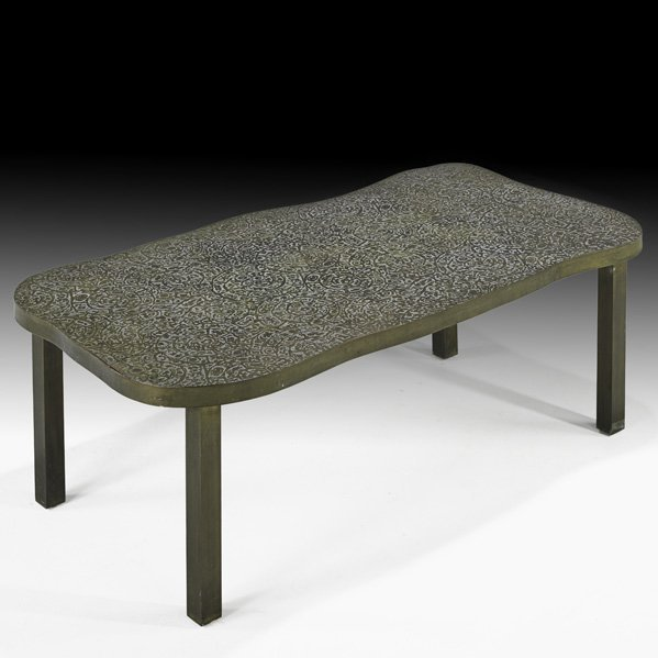 533: PHILIP & K. LaVERNE Etruscan Spiral coffee table