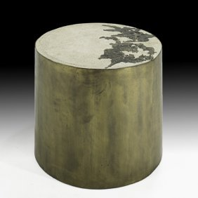 SILAS SEANDEL Concrete And Bronze Side Table
