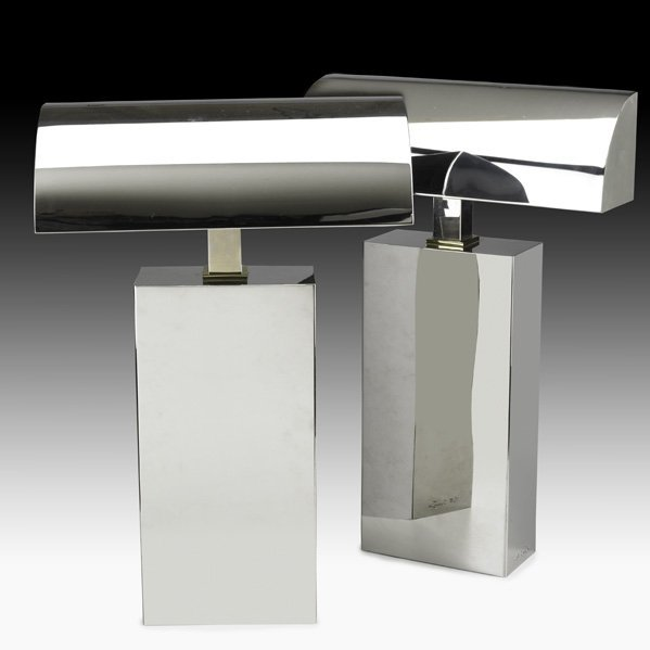 544: KARL SPRINGER Pair of Sculpture table lamps