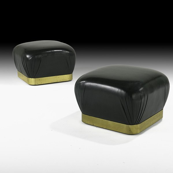 547: KARL SPRINGER Pair of leather & bronze poofs