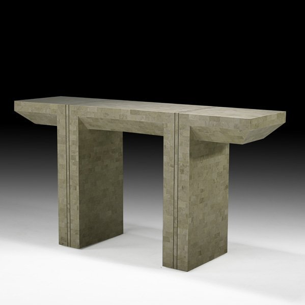 556: KARL SPRINGER Tessellated stone console