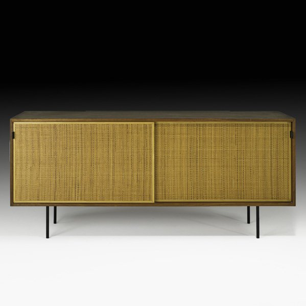 565: FLORENCE KNOLL Walnut and cane cabinet