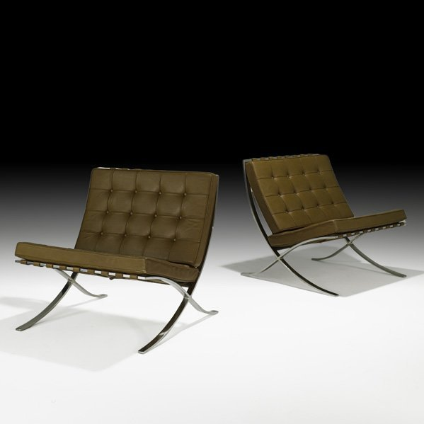 566: MIES VAN DER ROHE Pair of Barcelona chairs