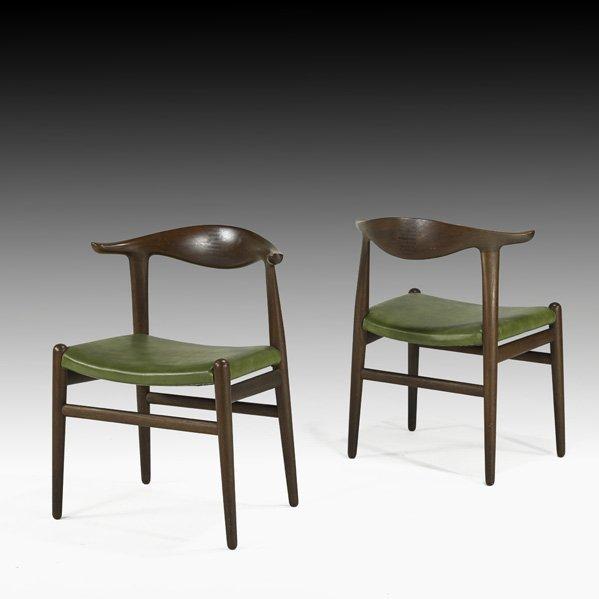 611: HANS WEGNER Pair of Cow Horn chairs