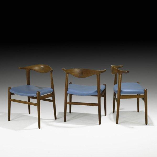 612: HANS WEGNER Three Cow Horn chairs