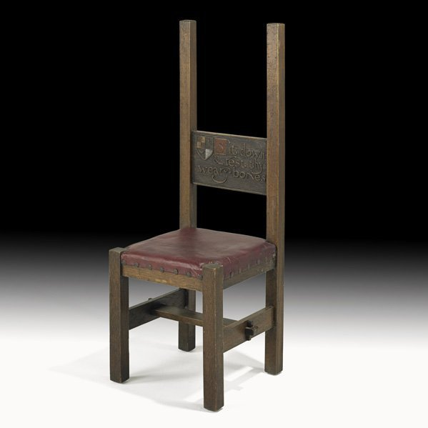 1: DARD HUNTER Important and unique hall chair