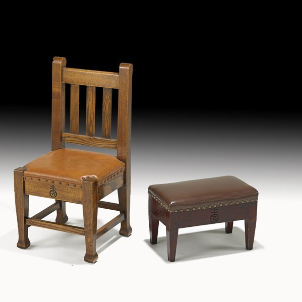 5: ROYCROFT Child's chair and small footstool