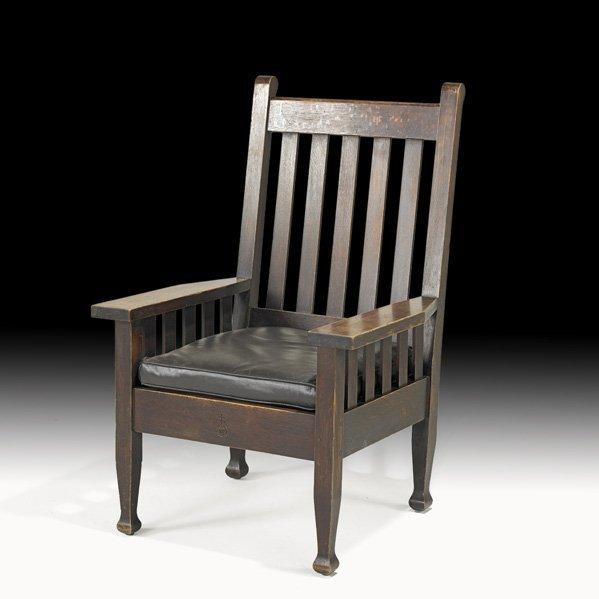 21: ROYCROFT Rare slatted armchair