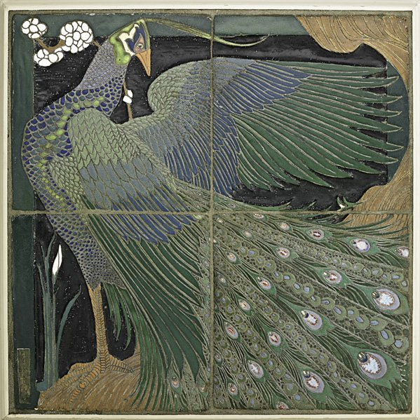 542: F.H. RHEAD Important large peacock tile