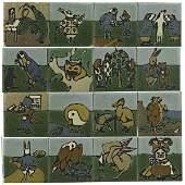 621: GRUEBY; C. PARDEE 16 Alice in Wonderland tiles