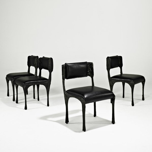1022: PAUL EVANS Four Sculpted Metal dining chairs