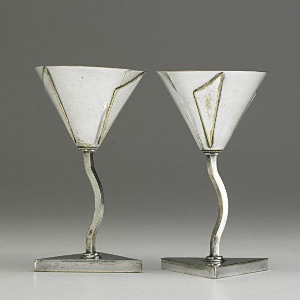 1291: ELSA TENNHARDT Pair of rare silver-plated cordial