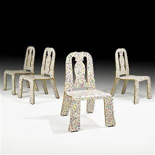1410: ROBERT VENTURI; KNOLL Four Queen Anne chairs