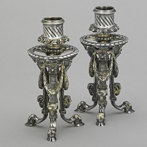 3: PAIR PARCEL-GILT 88 SILVER CANDLE STANDS