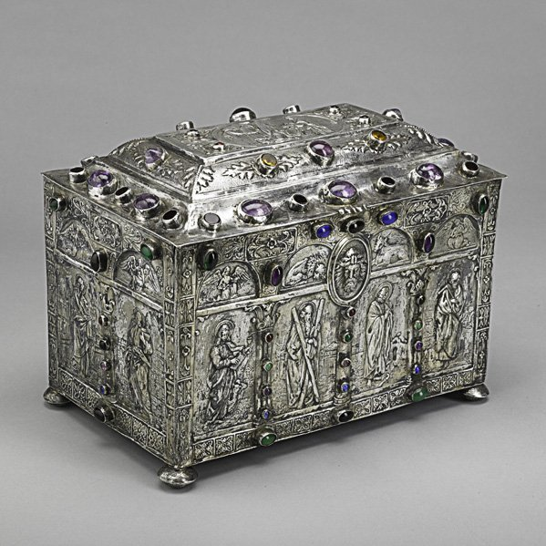 23: CONTINENTAL SILVER JEWELED RELIQUARY CASKET