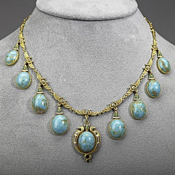 1001: EGYPTIAN REVIVAL ENAMELED GOLD FRINGE NECKLACE