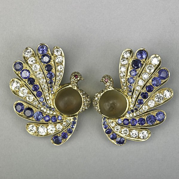 1003: JEWELED GOLD PEACOCK EAR CLIPS