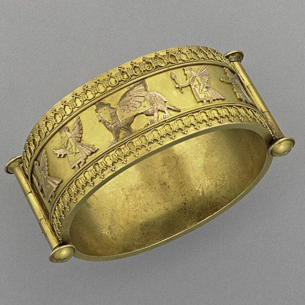 1009: ARCHEOLOGICAL REVIVAL MULTIHUED GOLD BRACELET
