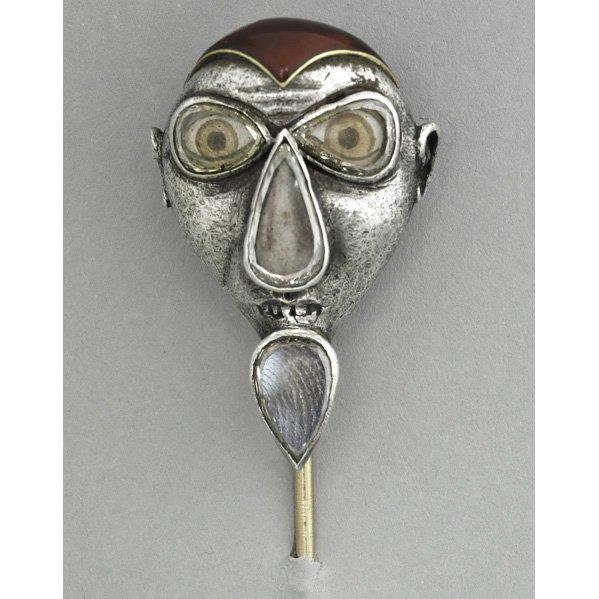 1022: FIERCE MASK DIAMOND LASQUE STICK PIN, ca. 1900